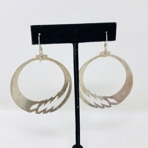 Jewelry - Large sterling silver vintage hoops, 13.6g